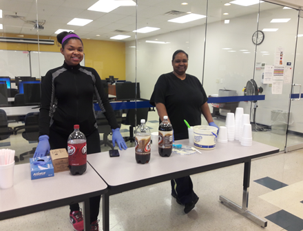 Students enjoyed vanilla ice cream with their choice of soda on Ice Cream Day.